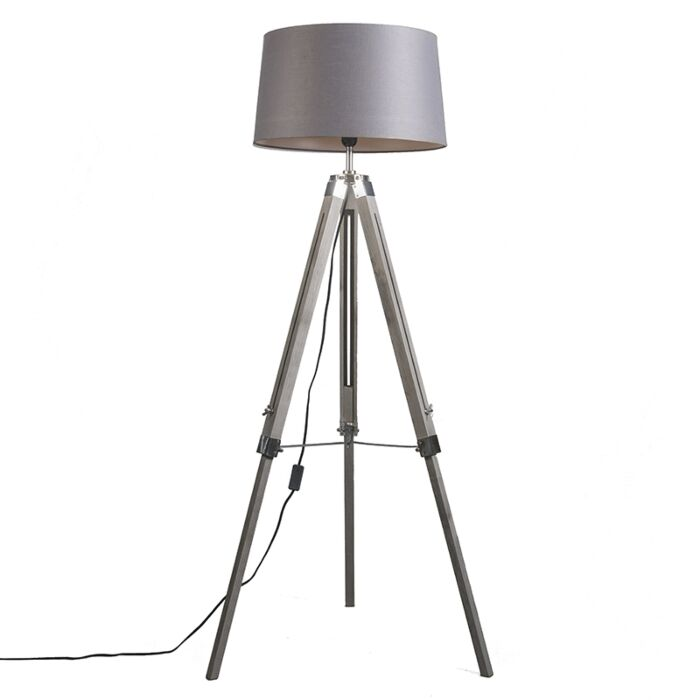 Design-vloerlamp-met-kap-45-cm-linnen-donkergrijs---Tripod