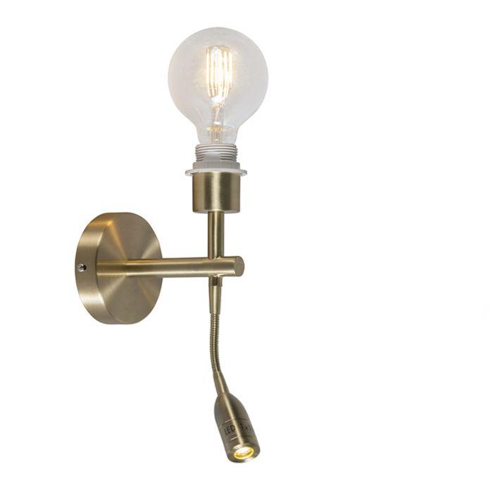 Wandlamp-Combi-1-LED-leeslamp-goud-zonder-kap