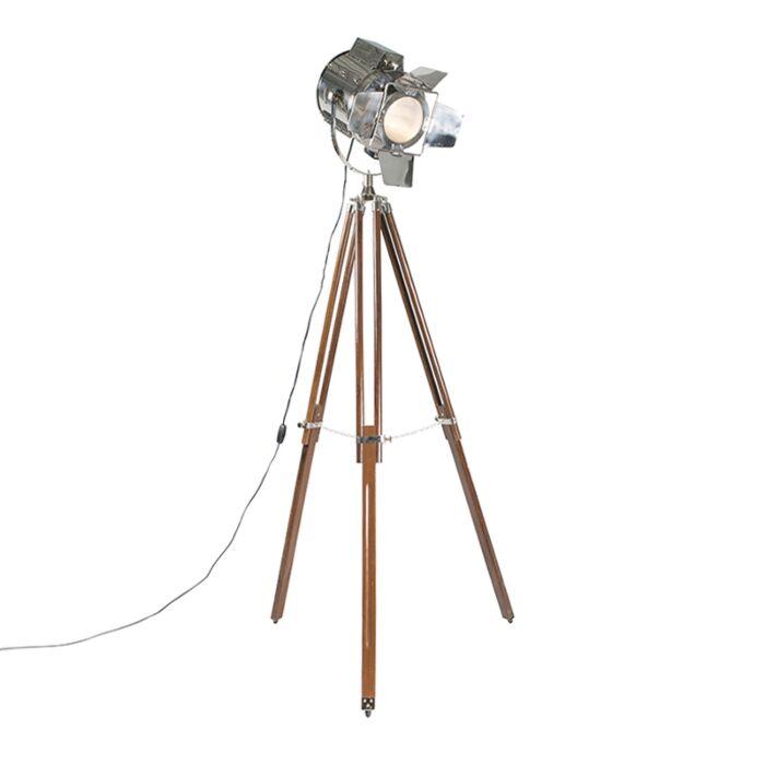 Vloerlamp-Tripod-Studio-bruin-met-chroom