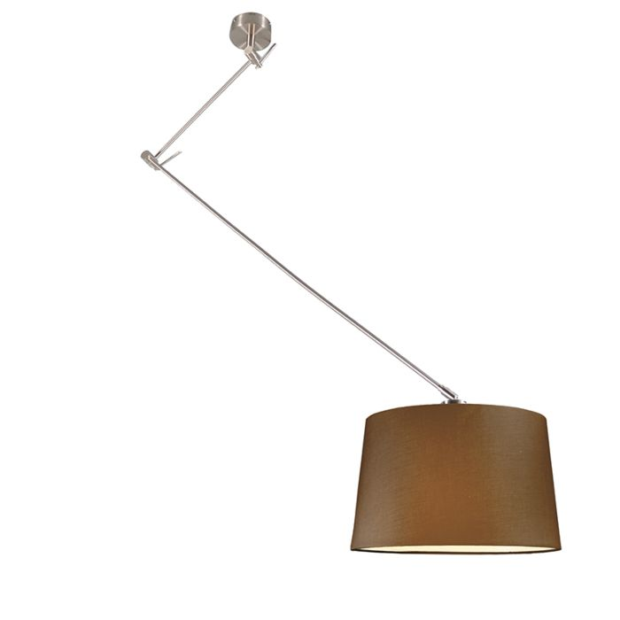 Hanglamp-Blitz-staal-met-kap-40cm-bruin