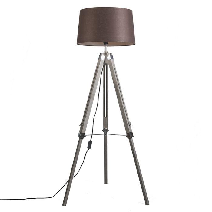Vloerlamp-grijs-met-bruine-linnen-kap-45-cm---Tripod