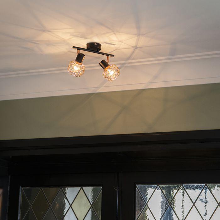 Moderne-spot-zwart-met-koper-2-lichts---Mesh