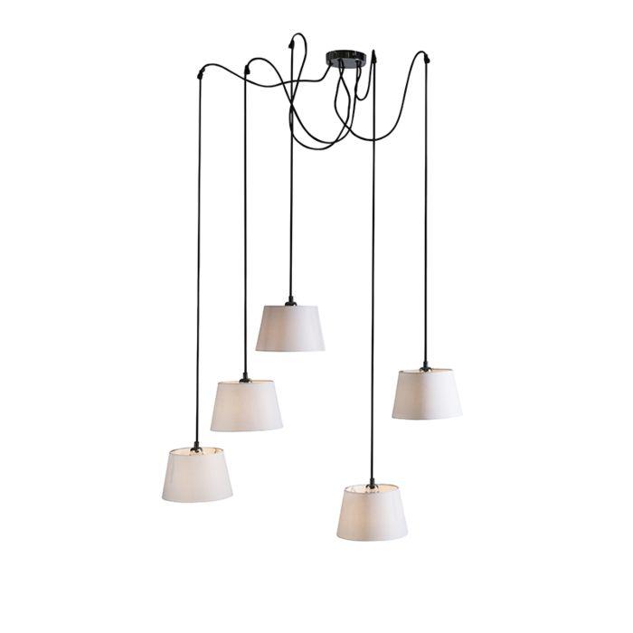 Hanglamp-Cava-5-zwart-met-witte-kappen