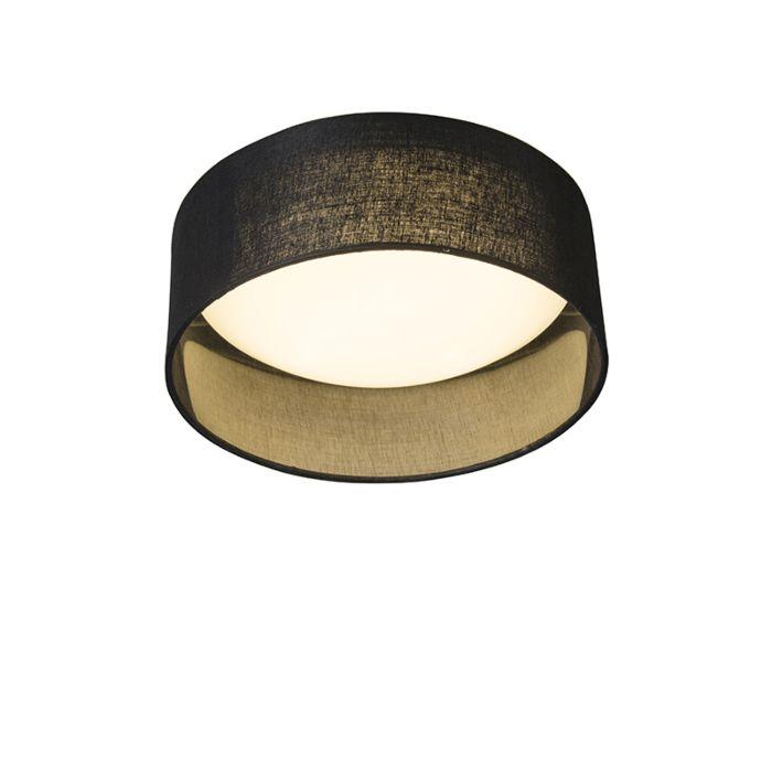 Plafondlamp-zwart-28-cm-incl.-LED---Drum-Combi