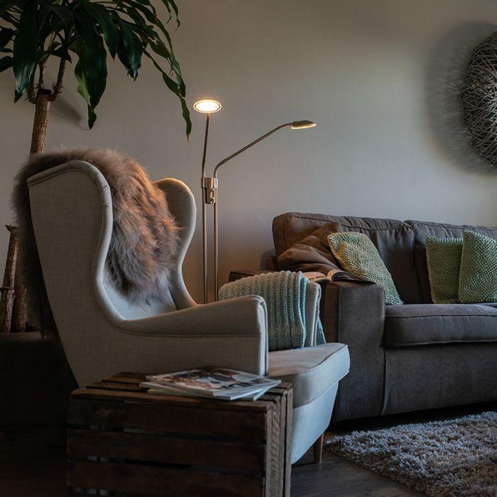 Moderne-vloerlamp-staal-met-leeslamp-incl.-LED---Eva