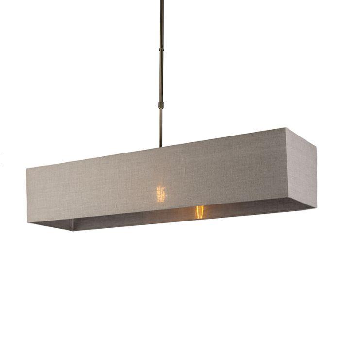 Hanglamp-Mix-1-brons-met-rechthoekige-kap-lichtbruin