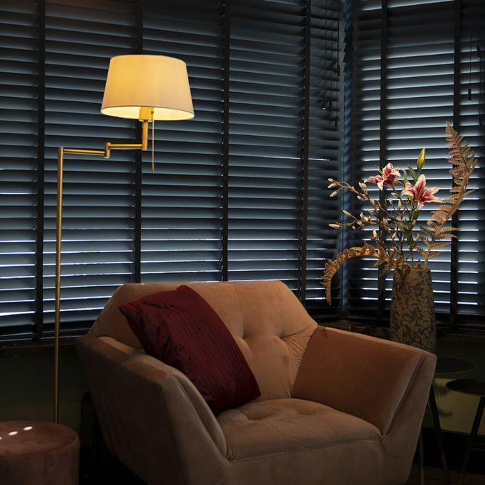 Klassieke-vloerlamp-brons-met-witte-kap-verstelbaar---Ladas-Fix