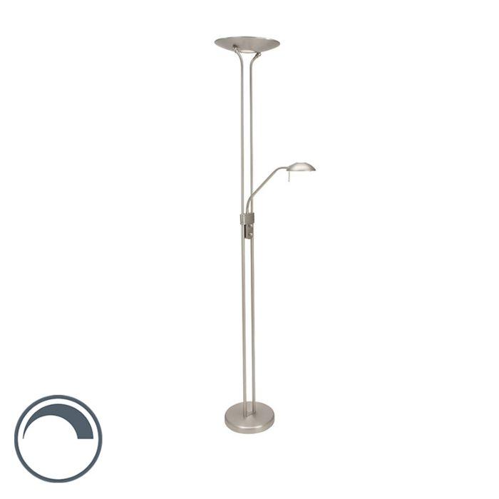 Vloerlamp-staal-met-leeslamp-incl.-LED-en-dimmer---Olet