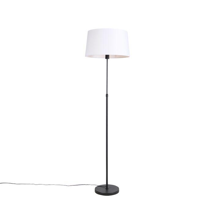 Vloerlamp-zwart-met-witte-linnen-kap-45-cm-verstelbaar---Parte