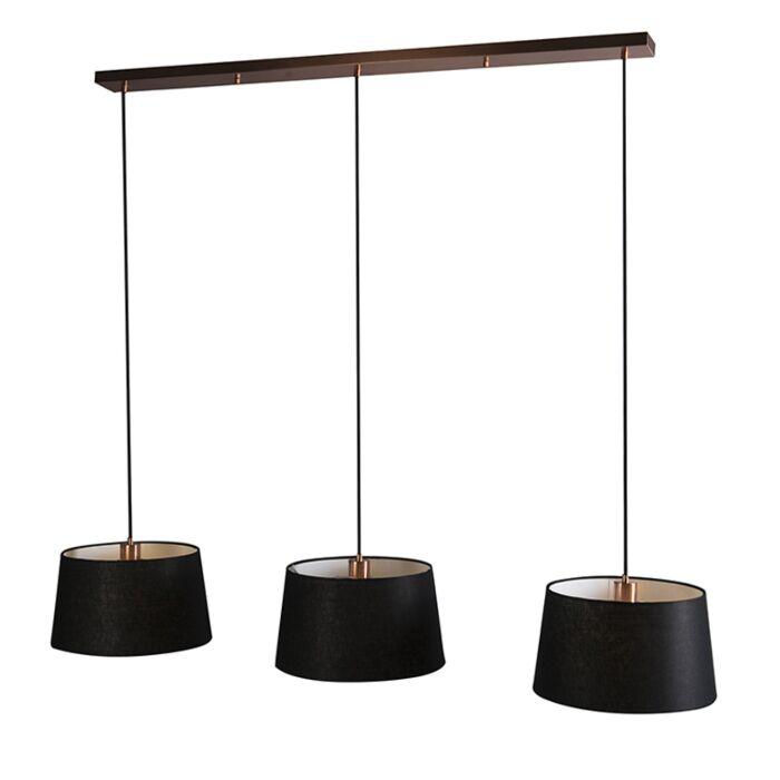 Hanglamp-Combi-3-koper-met-zwarte-kappen