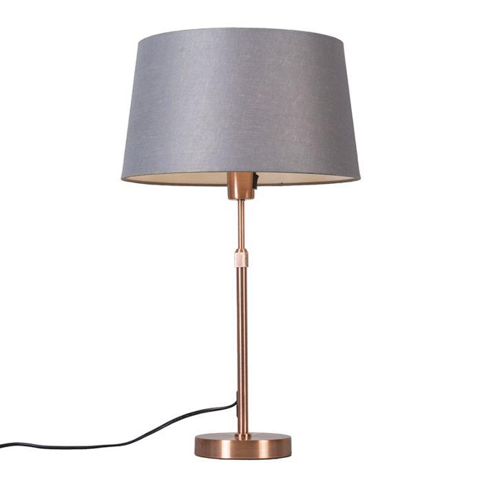 Tafellamp-koper-met-kap-grijs-35-cm-verstelbaar---Parte