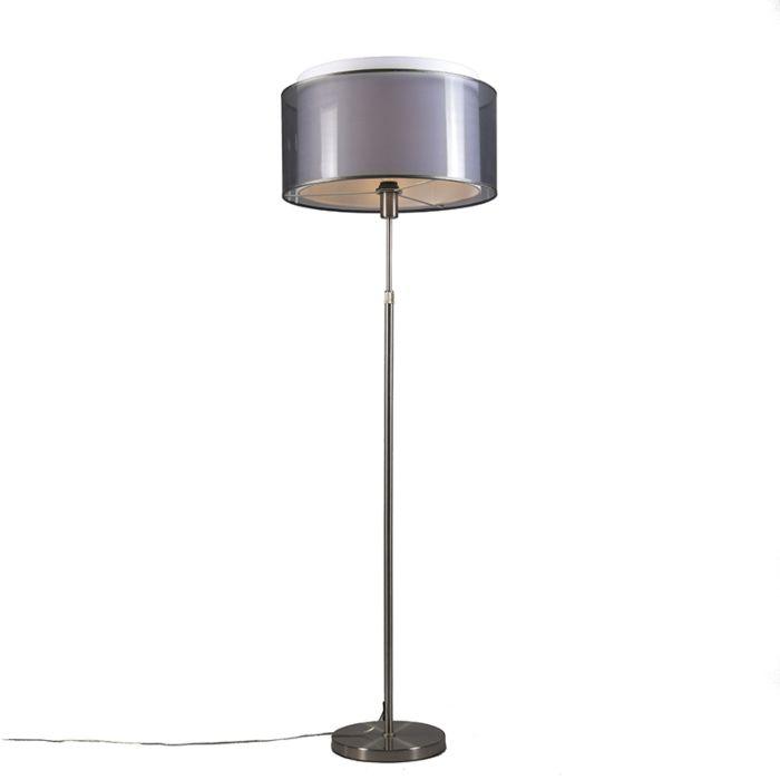 Vloerlamp-staal-met-zwart/witte-kap-47-cm-verstelbaar---Parte