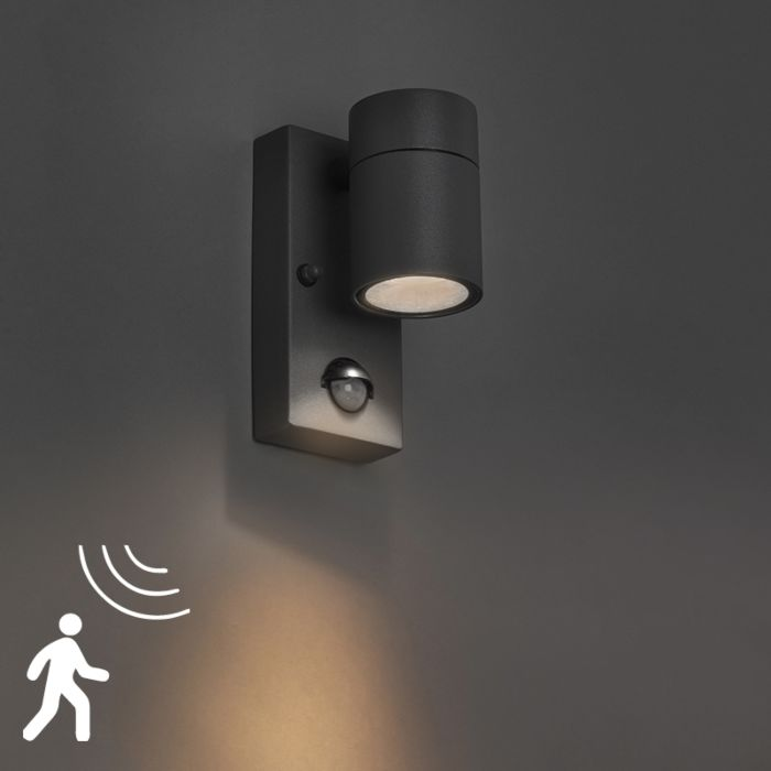 Buitenwandlamp-antraciet-IP44-met-bewegingssensor---Solo
