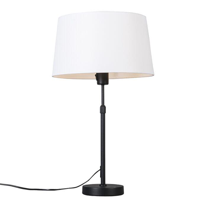 Tafellamp-zwart-met-kap-wit-35-cm-verstelbaar---Parte