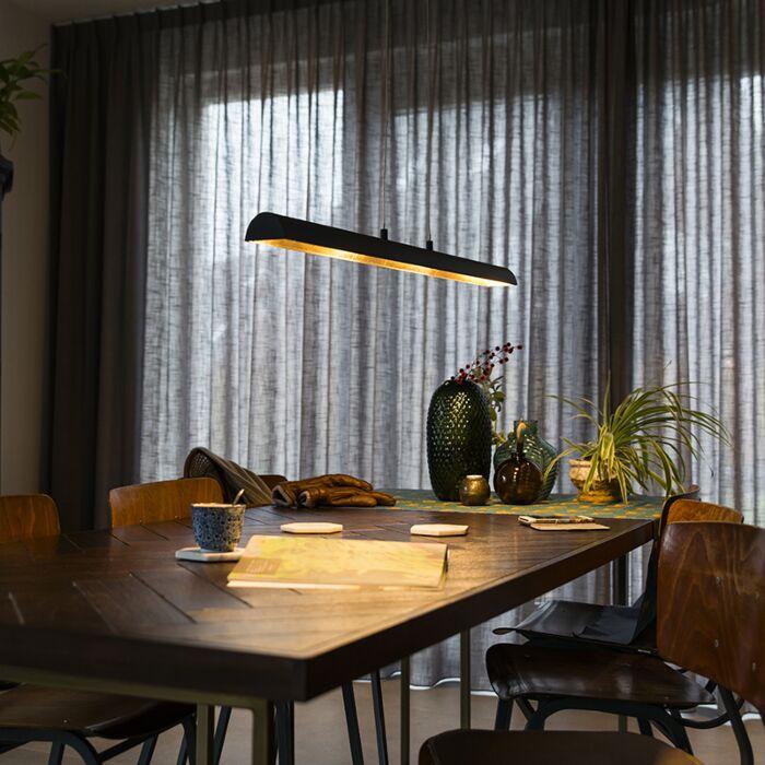 Hanglamp-zwart-met-gouden-binnenkant-incl.-LED---Balo-4