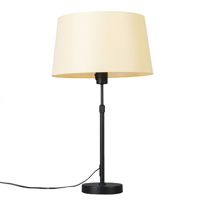 Tafellamp-zwart-met-kap-crème-35-cm-verstelbaar---Parte