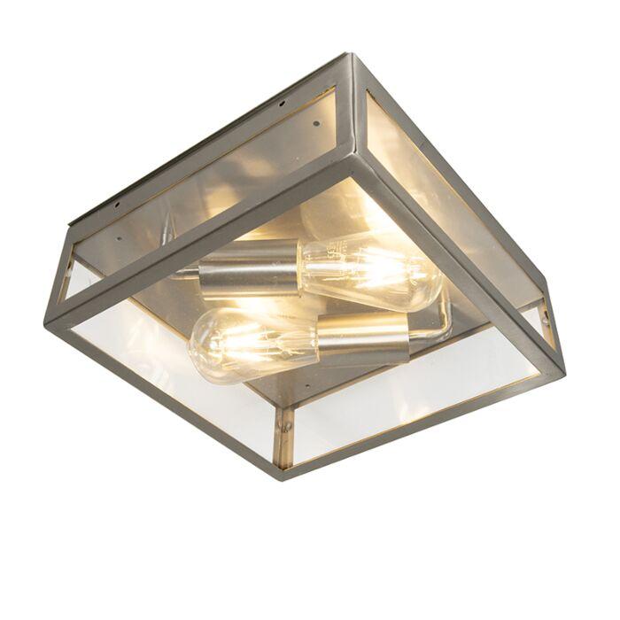 Moderne-vierkante-buitenplafondlamp-staal-2-lichts---Rotterdam
