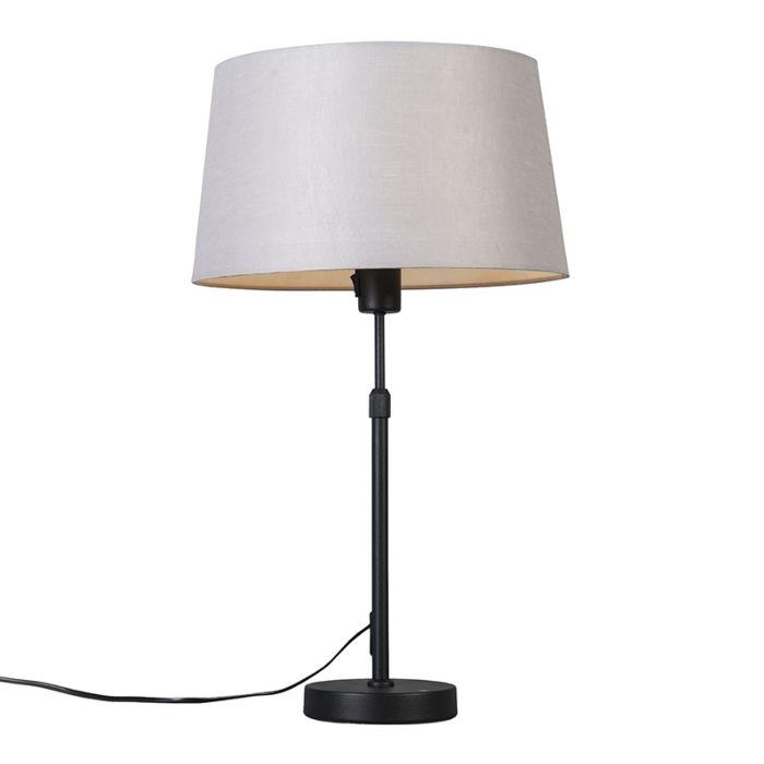 Tafellamp-zwart-met-kap-lichtgrijs-35-cm-verstelbaar---Parte