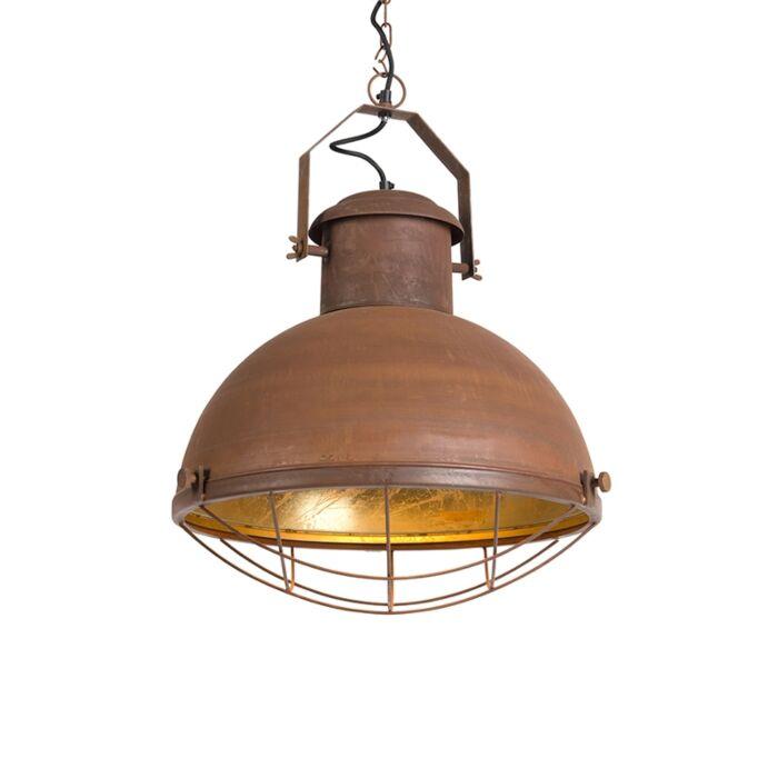 Industriële-hanglamp-roestbruin-met-gouden-binnenkant---Engine