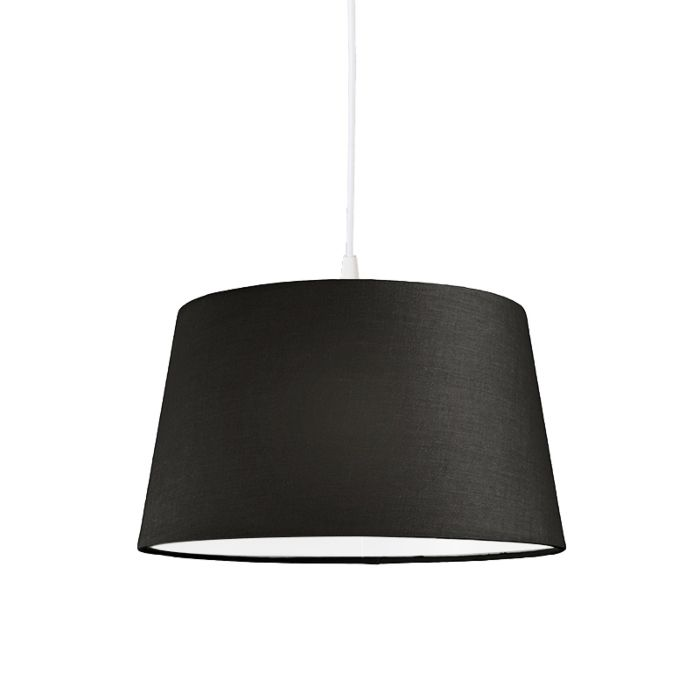 Pendel-80cm-E27-wit-met-kap-45cm-zwart