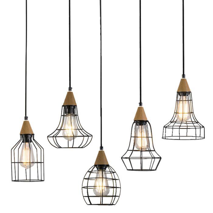 Hanglamp-Wish-zwart-met-hout---set-van-5
