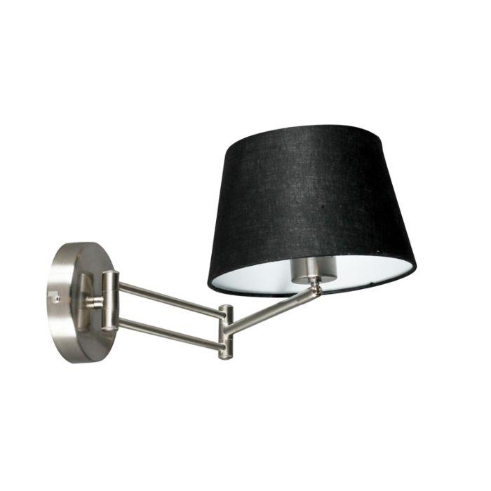 Wandlamp-Combi-staal-verstelbaar-met-kap-20cm-zwart