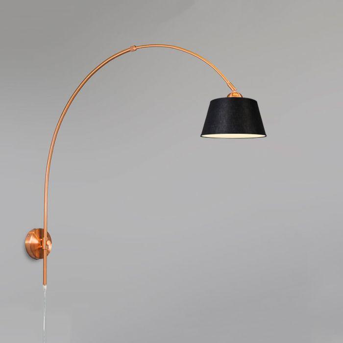 Wandlamp-Boog-mat-koper-met-kap-20cm-zwart