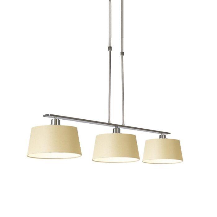 Hanglamp-Combi-3-Deluxe-staal-met-kap-35cm-creme