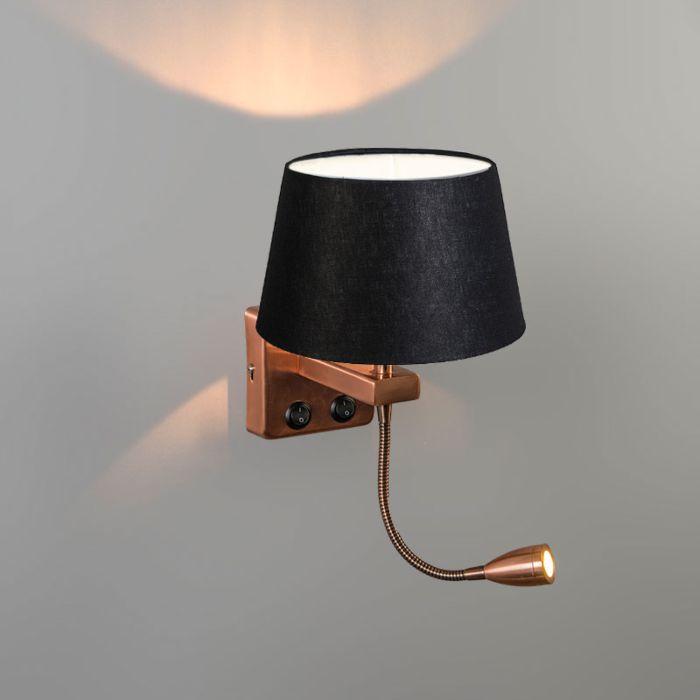 Wandlamp-Brescia-Combi-koper-met-kap-20cm-zwart
