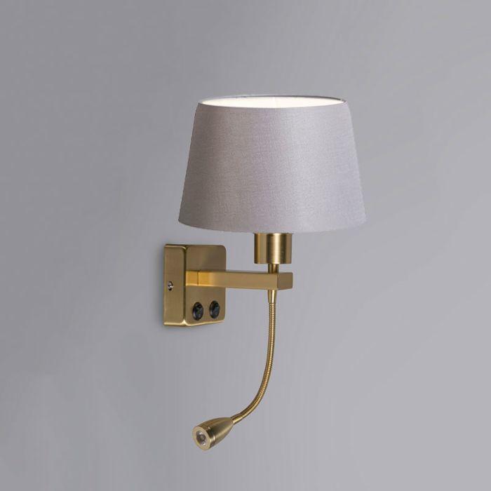 Wandlamp-Brescia-Combi-goud-met-kap-20cm-lichtgrijs