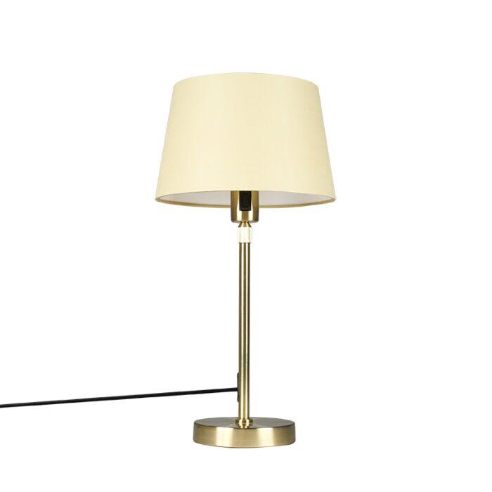 Tafellamp-goud/messing-met-kap-crème-25-cm-verstelbaar---Parte