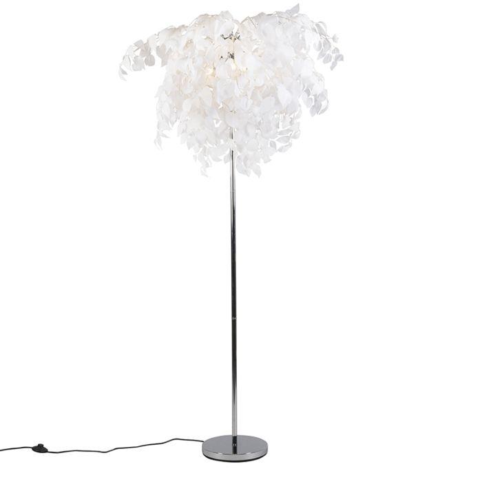 Romantische-vloerlamp-chroom-met-witte-blaadjes---Feder