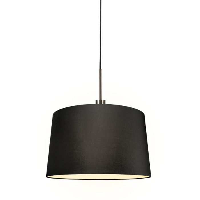 Moderne-hanglamp-staal-met-kap-45-cm-zwart---Combi-1