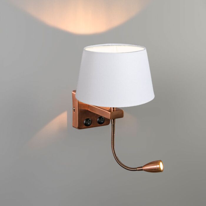 Wandlamp-Brescia-Combi-koper-met-kap-20cm-wit