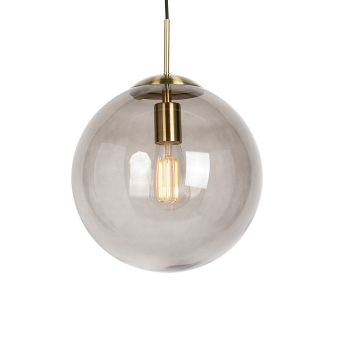 Moderne-hanglamp-messing-met-smoke-glas-30-cm---Ball