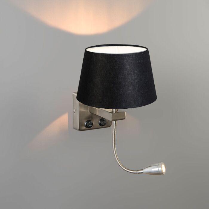 Wandlamp-Brescia-Combi-staal-met-kap-20cm-zwart
