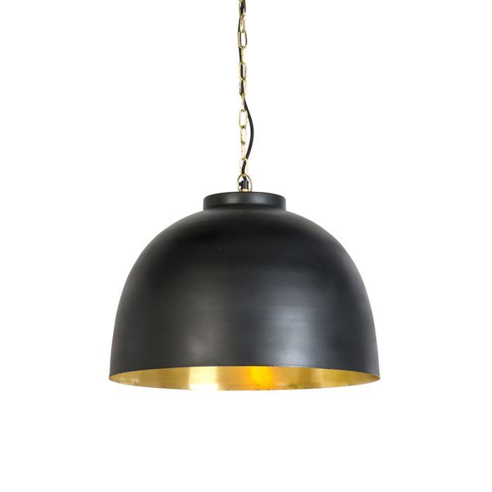 Hanglamp-zwart-met-messing-binnenkant-45,5-cm---Hoodi