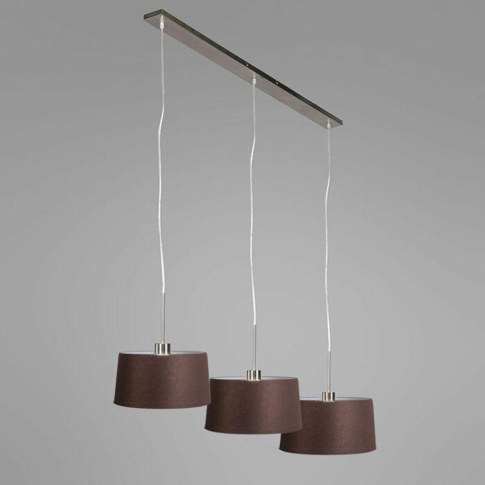 Hanglamp-Combi-3-staal-met-kap-35cm-bruin