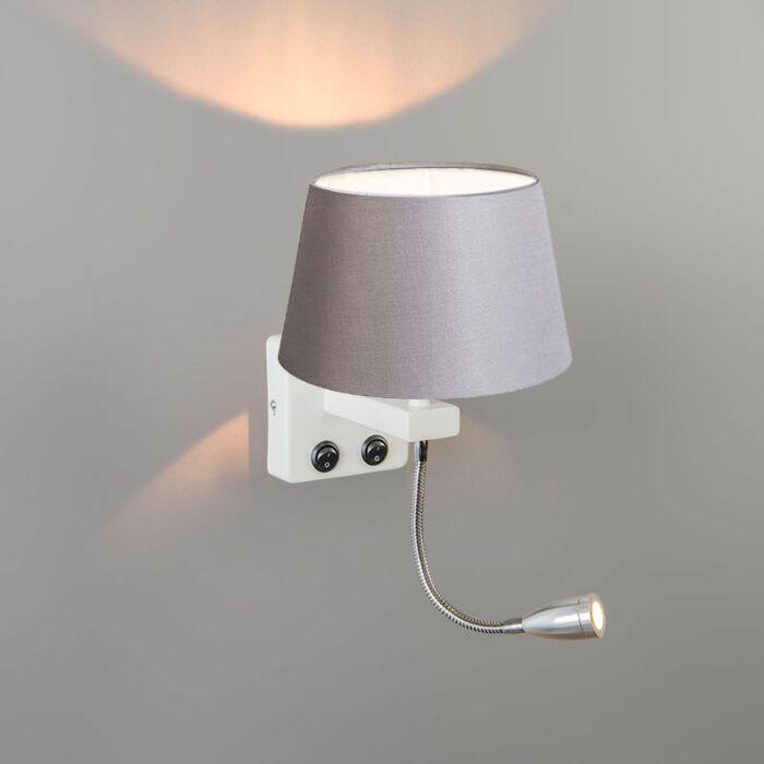 Wandlamp-Brescia-Combi-wit-met-kap-20cm-lichtgrijs