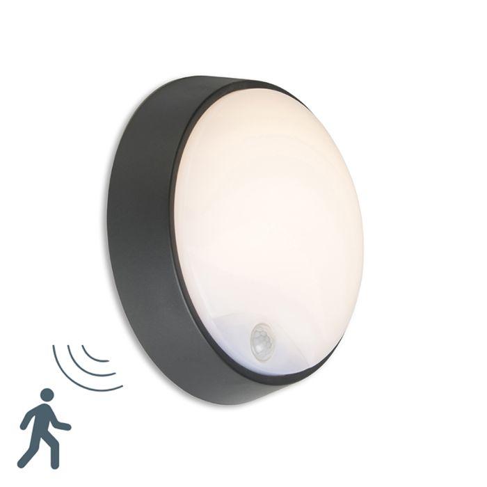 Buitenlamp-Hortus-Wand-LED-PIR-sensor-IP54-rond-zwart