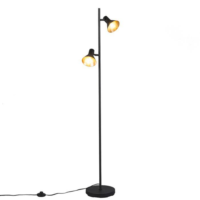 Moderne-vloerlamp-zwart-2-lichts---Magno