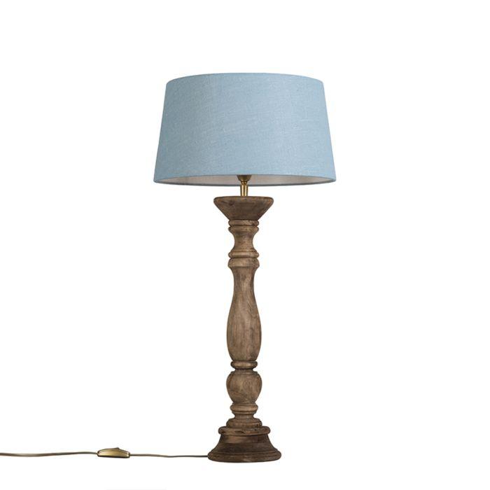Tafellamp-Ritual-naturel-met-kap-35cm-zee-blauw