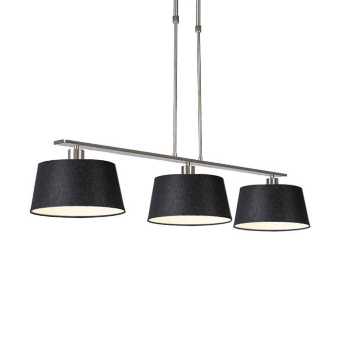 Moderne-hanglamp-zwart-staal-met-kap-35-cm---Combi-3-Deluxe