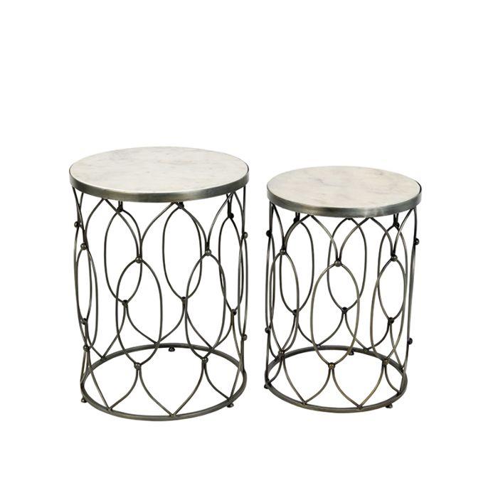 Bijzettafel-Marm-blank-staal-met-wit-marmer-set-van-2