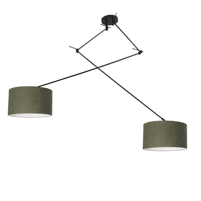 Hanglamp-zwart-met-kap-35-cm-groen-verstelbaar---Blitz-II