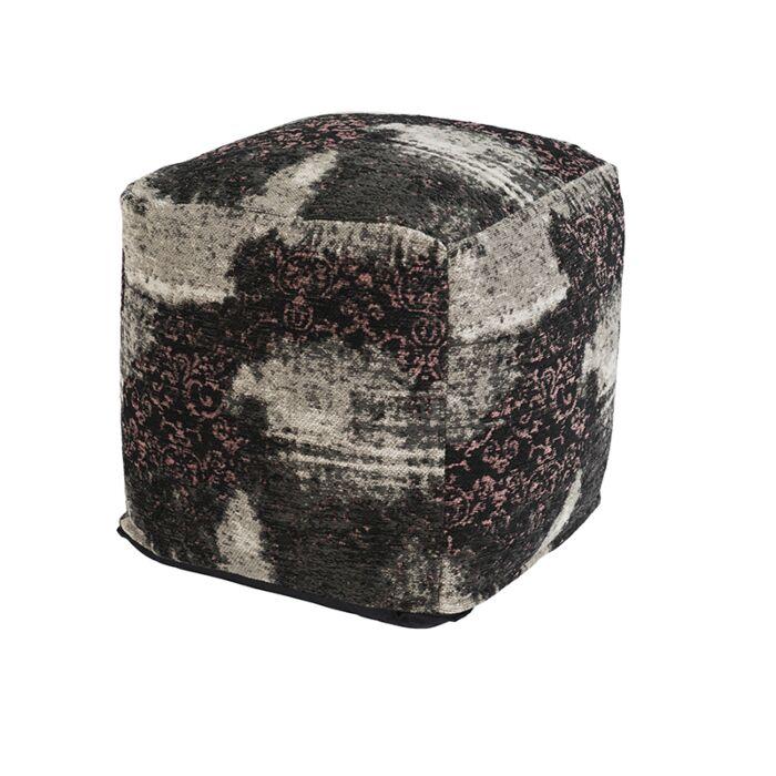 Vintage-vierkant-poefje-zwart/roze-45-x-45-x-45cm---Puri