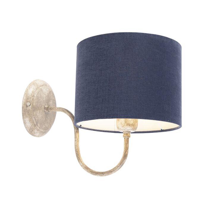 Wandlamp-cilinder-kap-20-cm-beige-met-blauw---Combi-Classic
