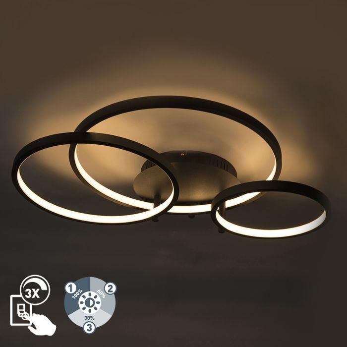 Moderne-plafondlamp-zwart-incl.-LED-en-dimmer--Rondas