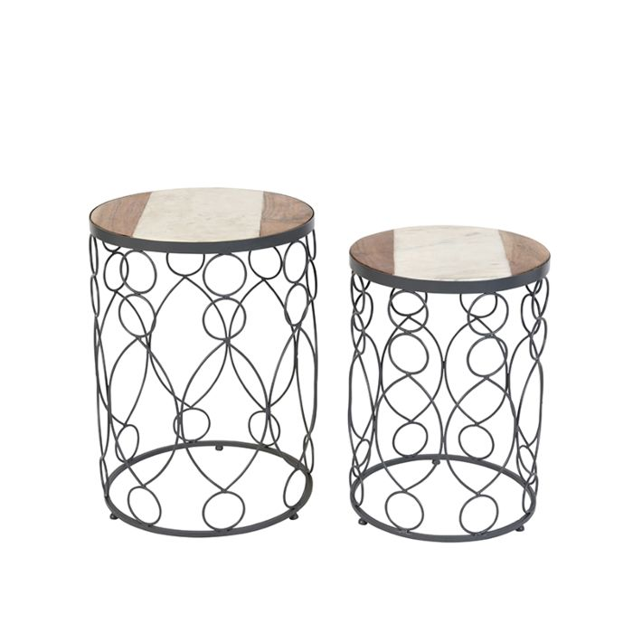 Bijzettafel-Marm-beton-met-hout-marmer-set-van-2