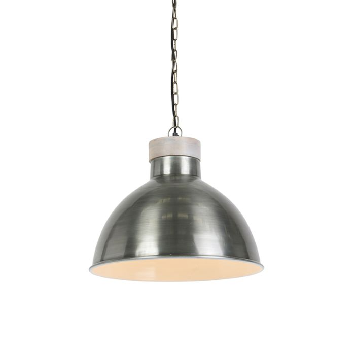 Industriele-hanglamp-staal-met-hout---Pointer